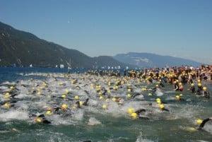 Triathlon d'Aix les Bains natation dans le lac du Bourget
